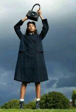 Erdem H&M Wool Blend Oversize Coat Dark Blue Check Jacket Trench