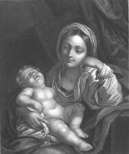 VIRGIN MOTHER MARY & BABY JESUS Christ ~ 1860 Bible Religion Art Print Engraving
