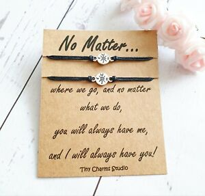 Set of 2 Long Distance Wish Bracelets Best Friend Friendship Gift Going Away