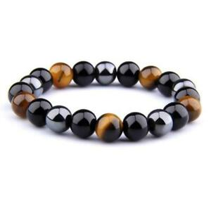 8mm Triple Protection Tigers Eye, Black Obsidian and Hematite Crystal Healing