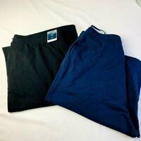 Women's Plus Size 2X Karen Scott Knit Bermuda Shorts Navy Blue & Black NEW