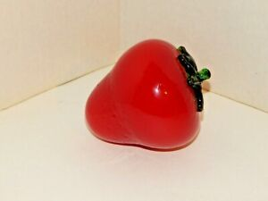 "VINTAGE - Large Red Strawberry Glass Fruit w/ Green Cap Stem - 4"" Wide... NICE!"