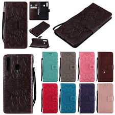 Leather Sunflower Flip Wallet Card Stand Case Cover For Samsung A6S A8S J4 Core