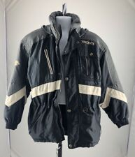 Descente Mens Board Ski Jacket Gray Black Buttons Embroidered Large L