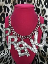 Betsey Johnson Runway Collection HUGE PRENUP Crystal Letter Word Necklace RARE