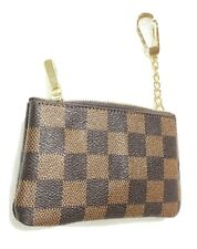 Brown Checkered Squared Striped  Coin Purse Key Chain  Holder Wallet Purse