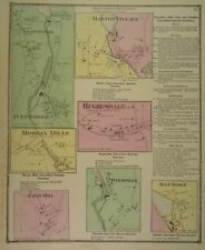 1870 Seven Areas in Rhode Island, Hand-Colored Maps, D.G Beers Co.