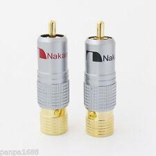 2x di alta qualità oro placcato Nakamichi RCA a spina di bloccaggio saldatura senza connettore A/V