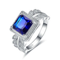 Exquisite Princess Cut Sapphire & White Topaz Gemstone Silver Ring Size 6 7  8 9