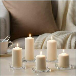 IKEA 5X Unscented Natural Block Candles Living Room Xmas Dinning Tealight Décor