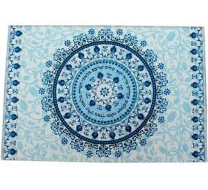 Challah Board/Tray Blue Pomegranates Glass Shabbat Reinforced Glass  9x14.5 in