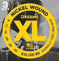 3 Pack D'Addario EXL125 Electric Guitar Strings 9-46 Light EXL125-3D Sets