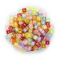 100 Piece Random Mixed Square Shapeed Letter Alphabets Beads Spacer Acrylic 6mm