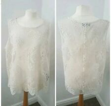 Crochet Lace Style Cream Cotton Festival Vest Top See-Through Size 20 George