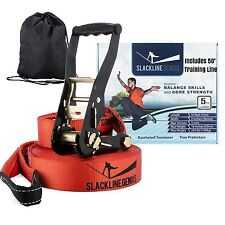 "Slackline Kit With Training Line - 50ft x 2"" Slack Line/Ratchet Tensioner/Tree"