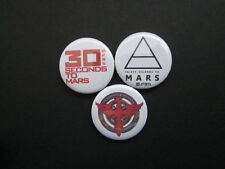 30 SECONDS TO MARS  x 3 - LOGO-25MM BUTTON BADGES- free uk postage*- MUSIC