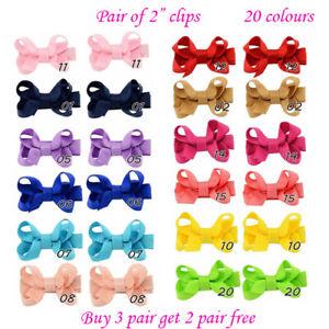 """2"""" mini small Baby Girls kids Ribbon Hair clip Bows clips cute bow School Pair"""
