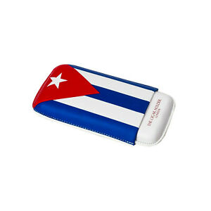 Cuban Flag Leather Travel Cigar Case for 3 Cigars Gauge 56 to 64