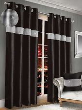 One Pair Diamante Faux Silk Ready Made Ringtop Eyelet Curtains Red Cream Black