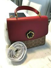 ❤NWT Coach Parker Top Handle In Signature Canvas & Leather Dusty Pink Multi $350