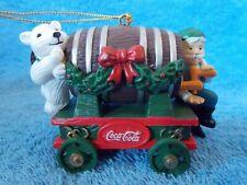 1995 Coca Cola Elf & Polar Bear Bottling Works Barrel Of Bears Xmas Ornament
