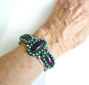 Turquoise and Purple Sugalite in Sterling Bracelet by Leo Feeney for Don Lucas