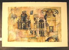 "Original Mixed Media Mono Print by Liz Jardine ""Old Empires"""