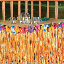 Multicolored Hawaiian Luau Party Table Skirt  Garden Tiki Decorations 9FT