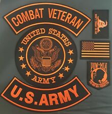 U.S. ARMY SEAL COMBAT VETERAN  MILITARY FLAG MOTORCYCLE BIKER LOT OF 6 PATCHES