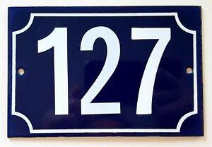 Vintage French house number 127 Enamel door sign