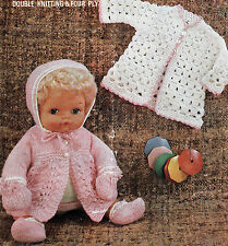 "#134 DK/4ply Doll Prem Girl 15"" Dress Coat Knitting Pattern Set & Crochet Coat"