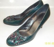 Banana Republic Wos Shoes US 7.5 Green snake Embossed sequin Floral Heels 5354