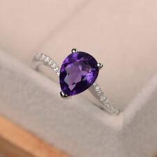 14K White Gold 1.96 Ct Natural Diamond Pear Cut Real Amethyst Ring Size N M O J