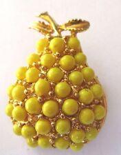 broche bijou vintage unique poire en relief perle jaune en  couleur or *176
