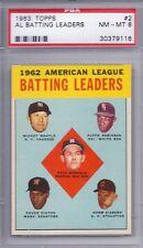 1963 Topps # 2 AL Batting Leaders Mantle NM MT PSA 8