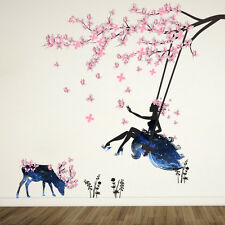 Pink Flower Blossom Tree Branch Beautiful Girl and Cattle Wall Stickers Decals