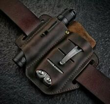 Hand Made Pure Leather Sheath For Folding Knife Torch Flash Light Leather Man