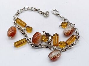 VINTAGE CITRINE GLASS AGATE BEAD CHARM STYLE SILVER TONE LADIES BANGLE BRACELET