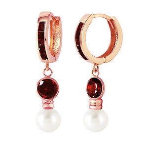 4.3 Carat 14K Solid Rose Gold Huggie Earrings pearl Garnet