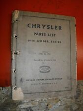 1940 MODEL SERIES CHRYSLER  ORIGINAL FACTORY PARTS LIST MANUAL