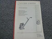 Von Arx Fr200 Concrete Scaler Scarifier Owner Operator Maintenance Manual