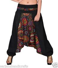 New Women Cotton Black Harem Pants Printed Yoga Trouser Genie Dance Hippie Boho