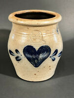 "ROWE POTTERY WORKS SALT GLAZED CROCK W/ BLUE HEART  4 7/8"" Tall 1988  PERFECT!"