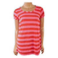 Womens Ladies Crew Neck Striped Casual Top Red Pink Short Sleeve T-Shirt Blouse
