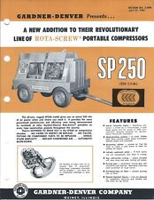 Equipment Brochure - Gardner-Denver - Sp250 Portable Air Compressor 1962 (E4857)