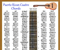 """PUERTO RICAN CUATRO CHORDS POSTER 13""""X19"""""""