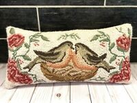 """Vtg Wool Needlepoint Tapestry Pillow Love Birds 17.5"""" x 8.5"""" Zipper Back Lumbar"""