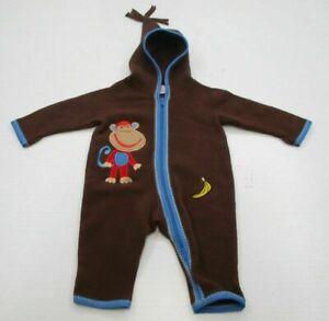 HANNA ANDERSSON Youth Boy Size 60 Warm Full Zip Brown Monkey Fleece Suit