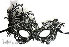 Goth : Masque Dentelle Victorien Loup NOIR Crochet Brodé semi-rigide Gothique 2