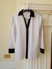 EMANUEL UNGARO Women's Polka Dot Contrast Trim Shirt UK 6 / IT 38 / F 34 / USA 4
